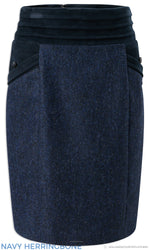 Jack Murphy Norah Tweed Skirt |  Navy Herringbone