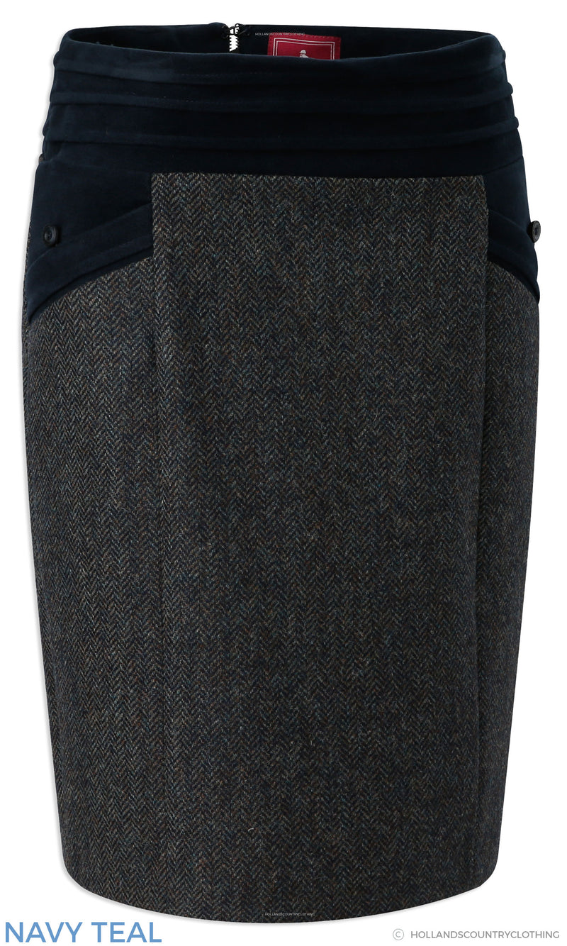 Jack Murphy Norah Tweed Skirt | Navy Teal,