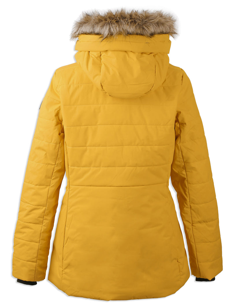 rear view Didriksons Ladies Nana Quilted Jacket Oat Yellow