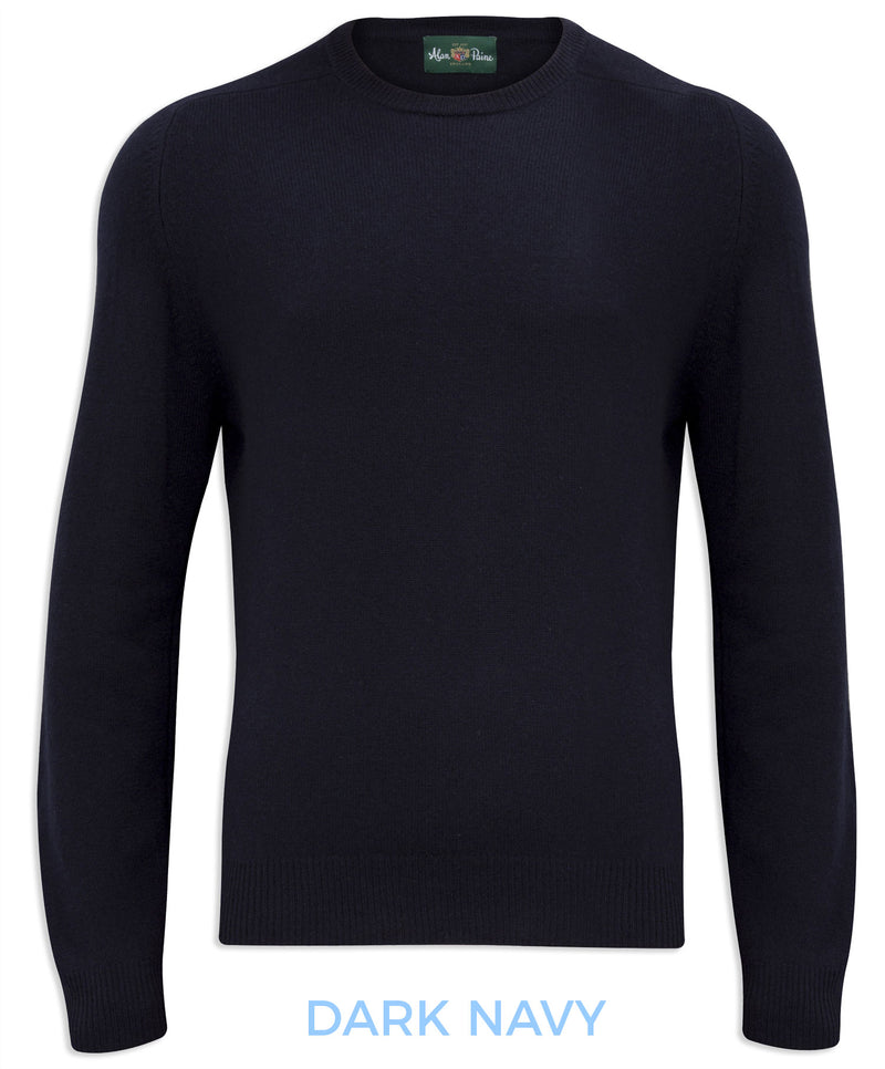 Navy Burford Men's Lambswool Round Neck Sweater - Classic Fit