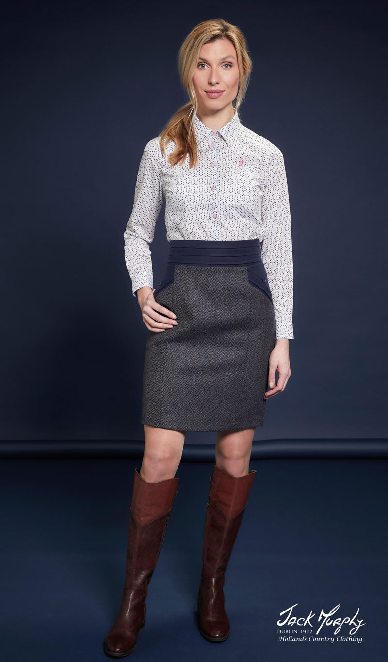 wear with leather high boots Jack Murphy Norah Tweed Skirt | Three Colours