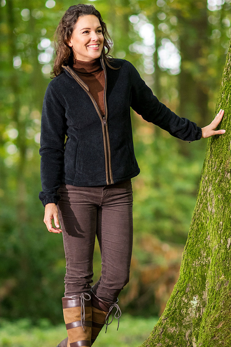 leading against a tree Sarah Ladies Fleece by Baleno