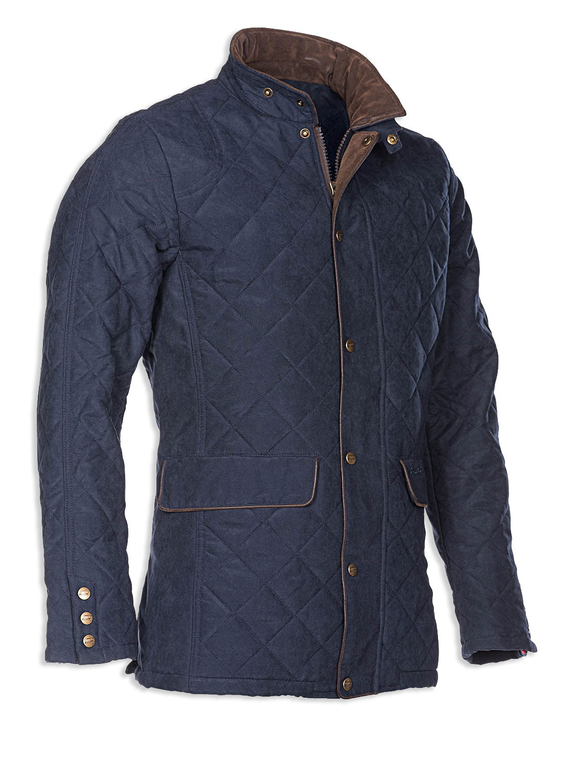 side view navy Baleno Cheltenham Quilted Jacket