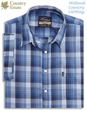 packed Champion Newmarket Short Sleeved Shirt blue check