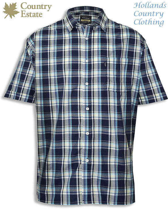 Navy check Champion Newmarket Short Sleeved Shirt for summer