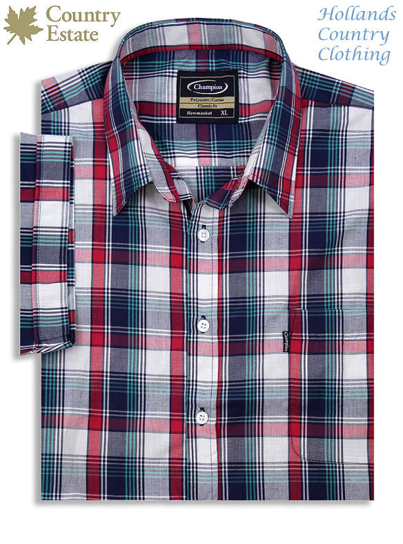 champion short sleeve shirt in red and blue pattern for haymaking