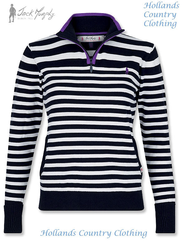 Nicola Ladies Sweater Sea Quest navy and white striped top knitted