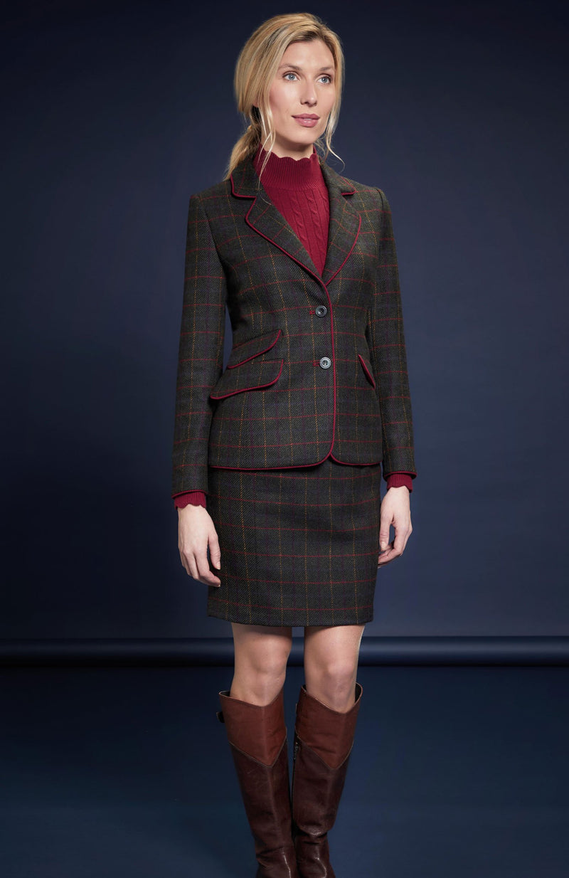 with jacket  Primary Green Check Tweed