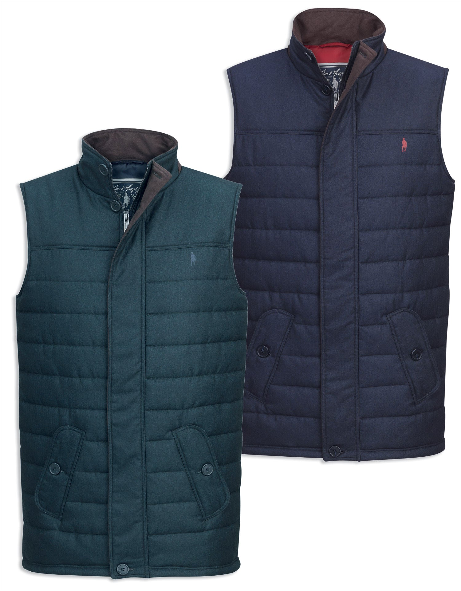 Jack Murphy Norman Quilted Gilet in navy and gren