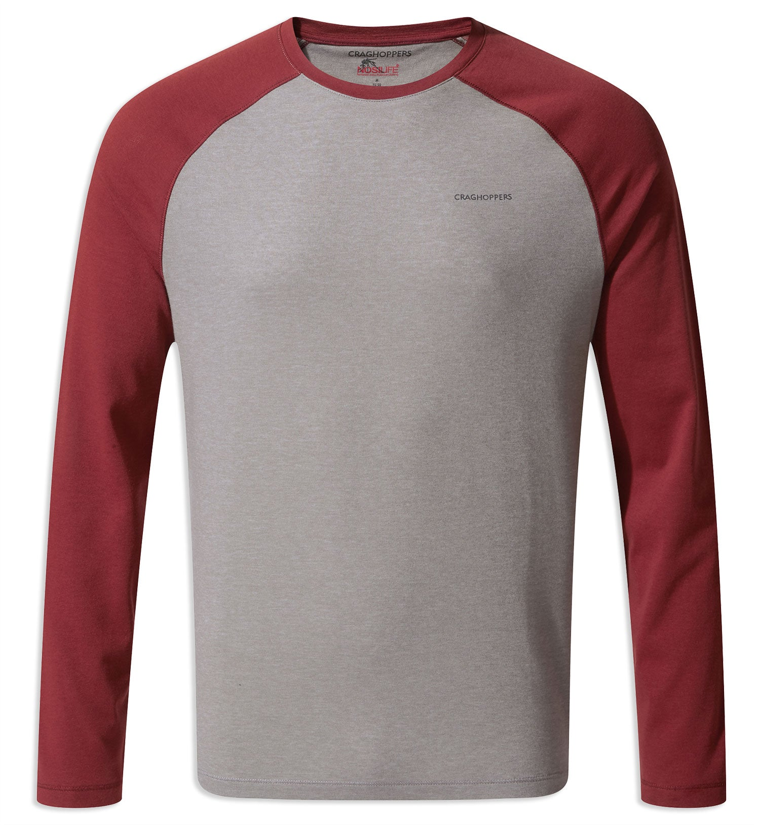 Craghoppers NosiLife Bayame Long Sleeved Tee in grey and red