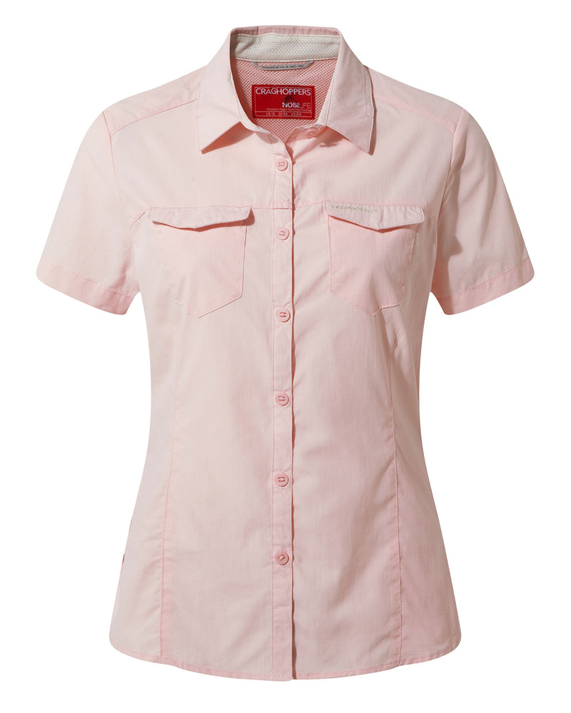 seshell Pink Craghoppers NosiLife Adventure Ladies Short Sleeved Shirt