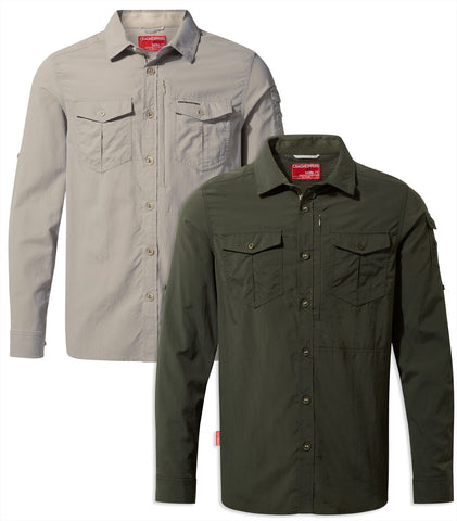 Craghoppers NosiLife Adventure Shirt II Long Sleeved | Parchment & Dark Khaki