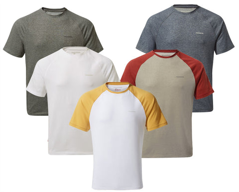 Craghoppers NosiLife Anello T-shirt | Indian Yellow / Optic White, Optic White, Black Pepper Marl, Soft Navy Marl, Soft Grey Marl/ Firth Red