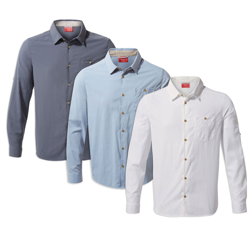 Craghoppers NosiLife Nuoro Long Sleeve Shirt | Optic White, Ombre Blue, Fogle Blue