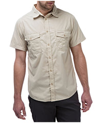 oatmeal Man's Bush shirt with short sleeves