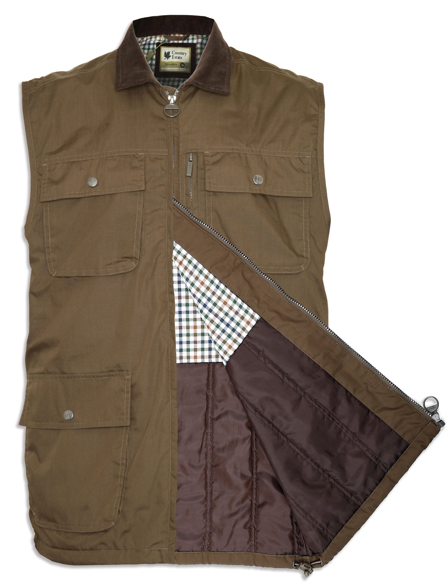 showing lining navy Silverdale Multi Pocket Waistcoat from Champion Outdoor