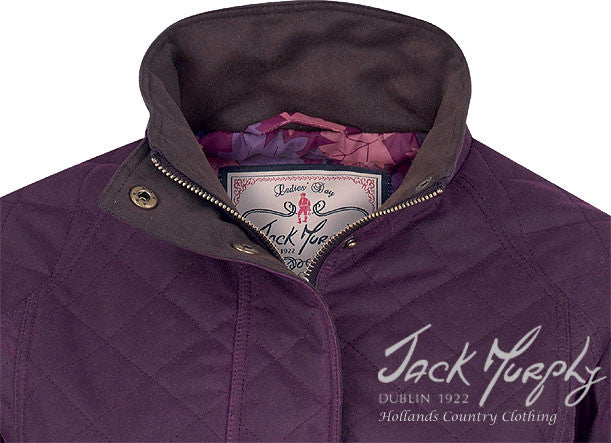 collar detail for Jack Murphy Omogen Women's Waxed Cotton Jacket