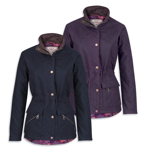 Jack Murphy Omogen Ladies Wax Jacket in Berry and navy quilted