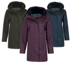 Jack Murphy Ladies Oxford Waterproof Coat	in navy olive blackberry