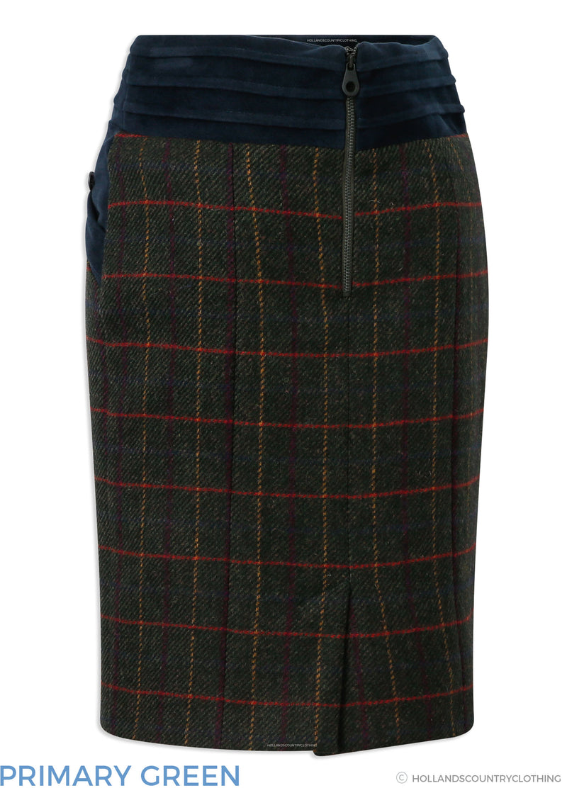 Back View Jack Murphy Norah Tweed Skirt | Primary Green,