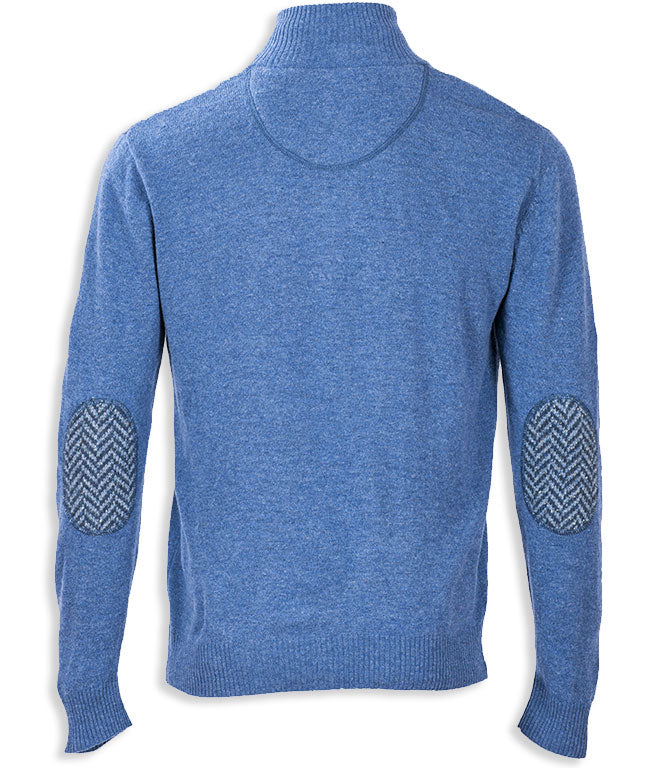 Blue rear view Aran Woollen Mills Troyer Zip-neck Merino Pullover