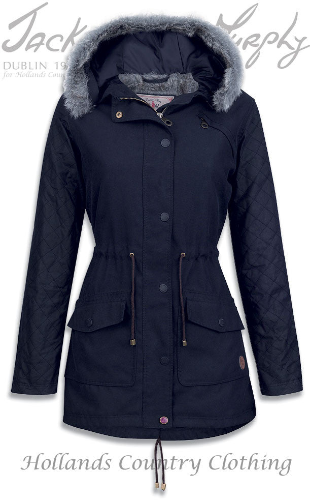 Jack Murphy Paloma Winter Parka Coat in navy with wax cotton sleeves