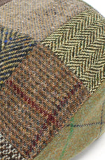 Brown and Green Patchwork Tweed Flat Cap by Hanna Hats of Donegal