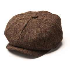 Heather Scott Harris Tweed 8-Piece Cap | Olive/Brown Mix