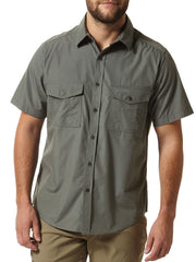 dark grey Cedar green Man's Bush shirt with short sleeves