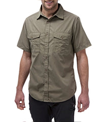 Pebble Colour Man's Bush shirt with short sleeves