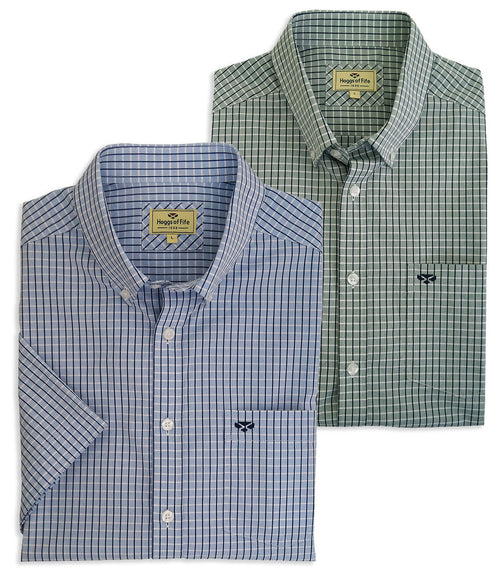 Hoggs Perth Cotton Short Sleeve Shirt in Blue and Green Check