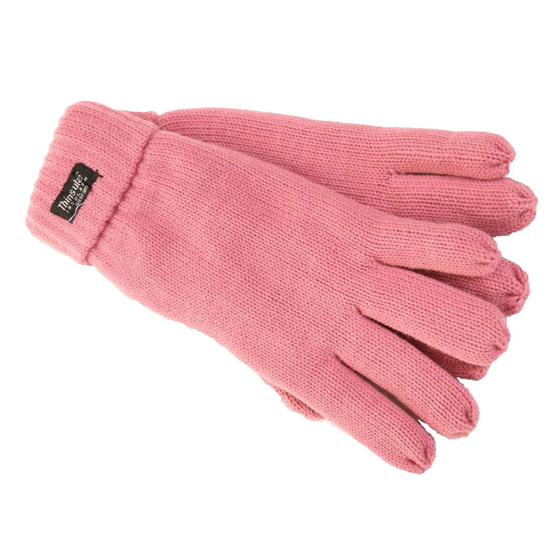 dusky pink Knitted Gloves with Thinsulate Lining - Ladies  Fit