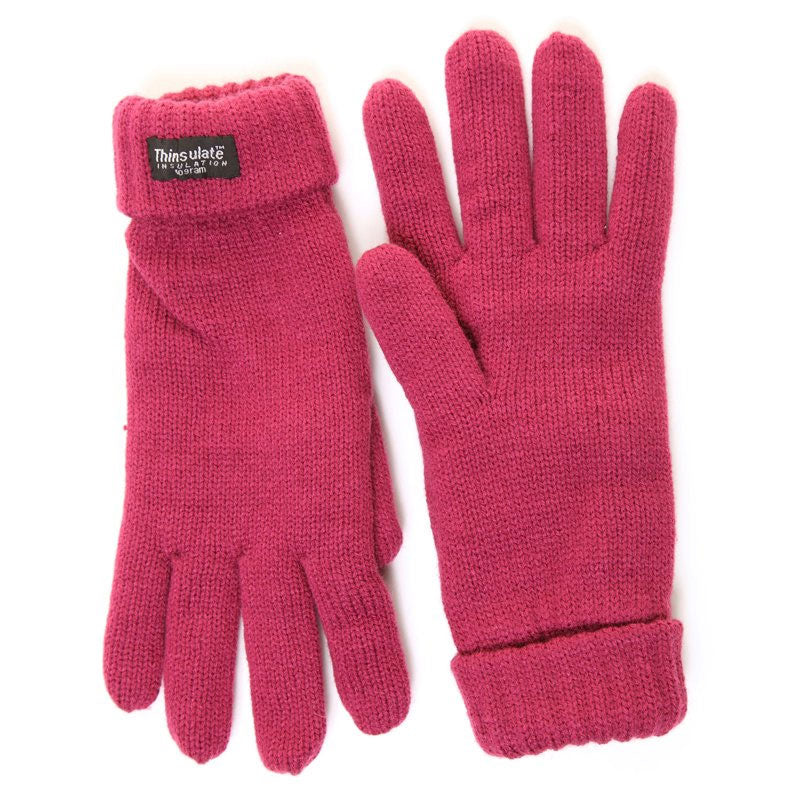 raspberry Knitted Gloves with Thinsulate Lining - Ladies  Fit