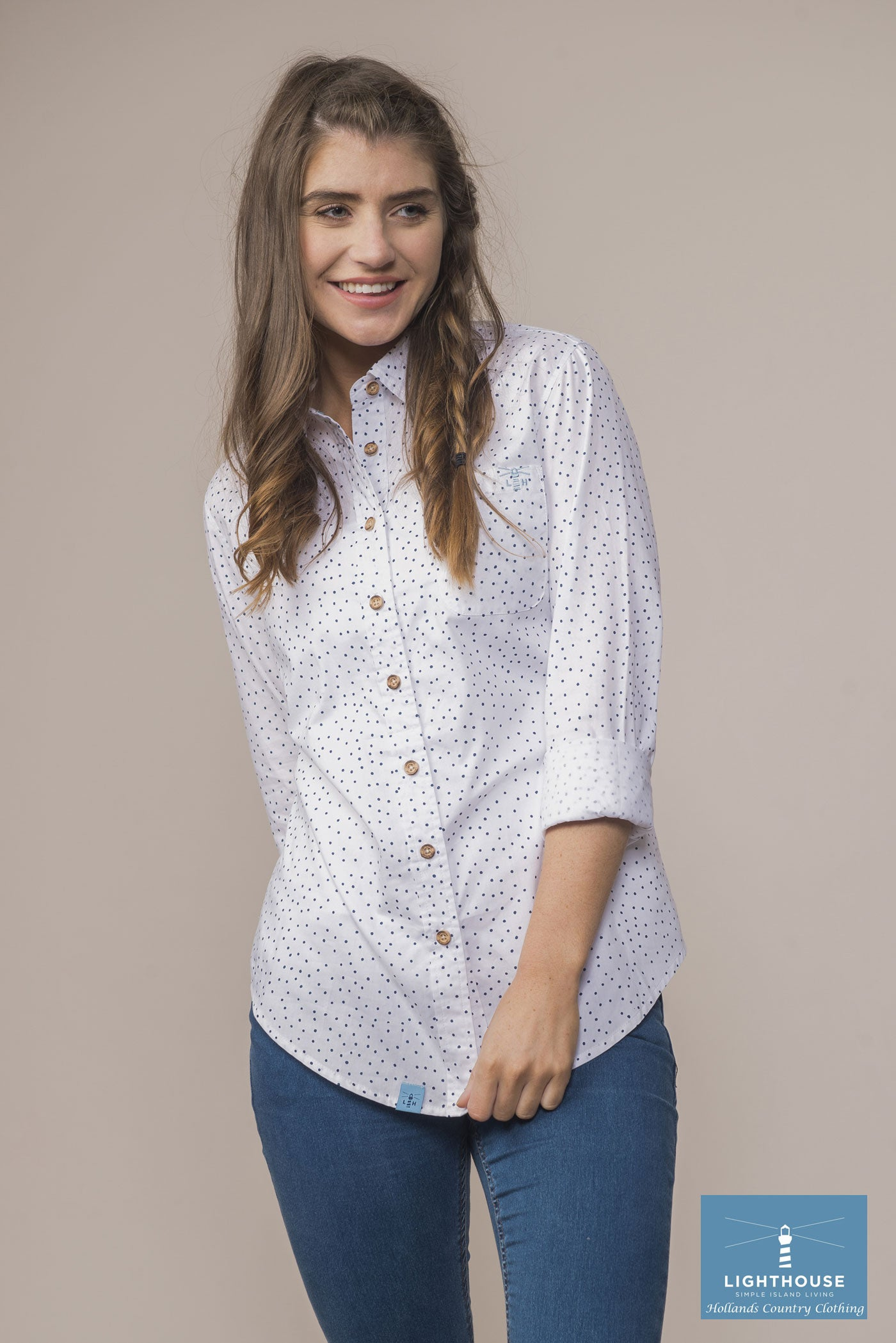 woman wearing Ocean Ladies Pure Cotton Shirt by Lighthouse