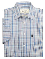 Blue navy check short sleeve shirts