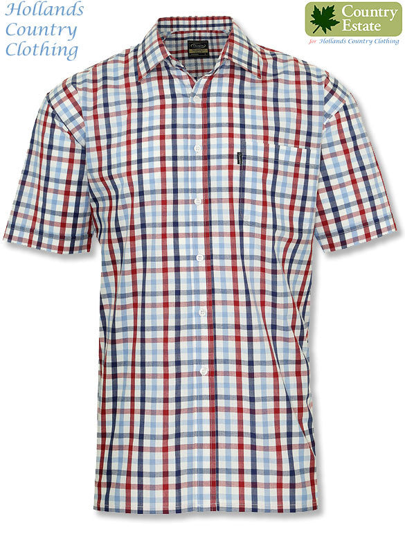 red and blue Champion Prestwick Short Sleeved Shirt