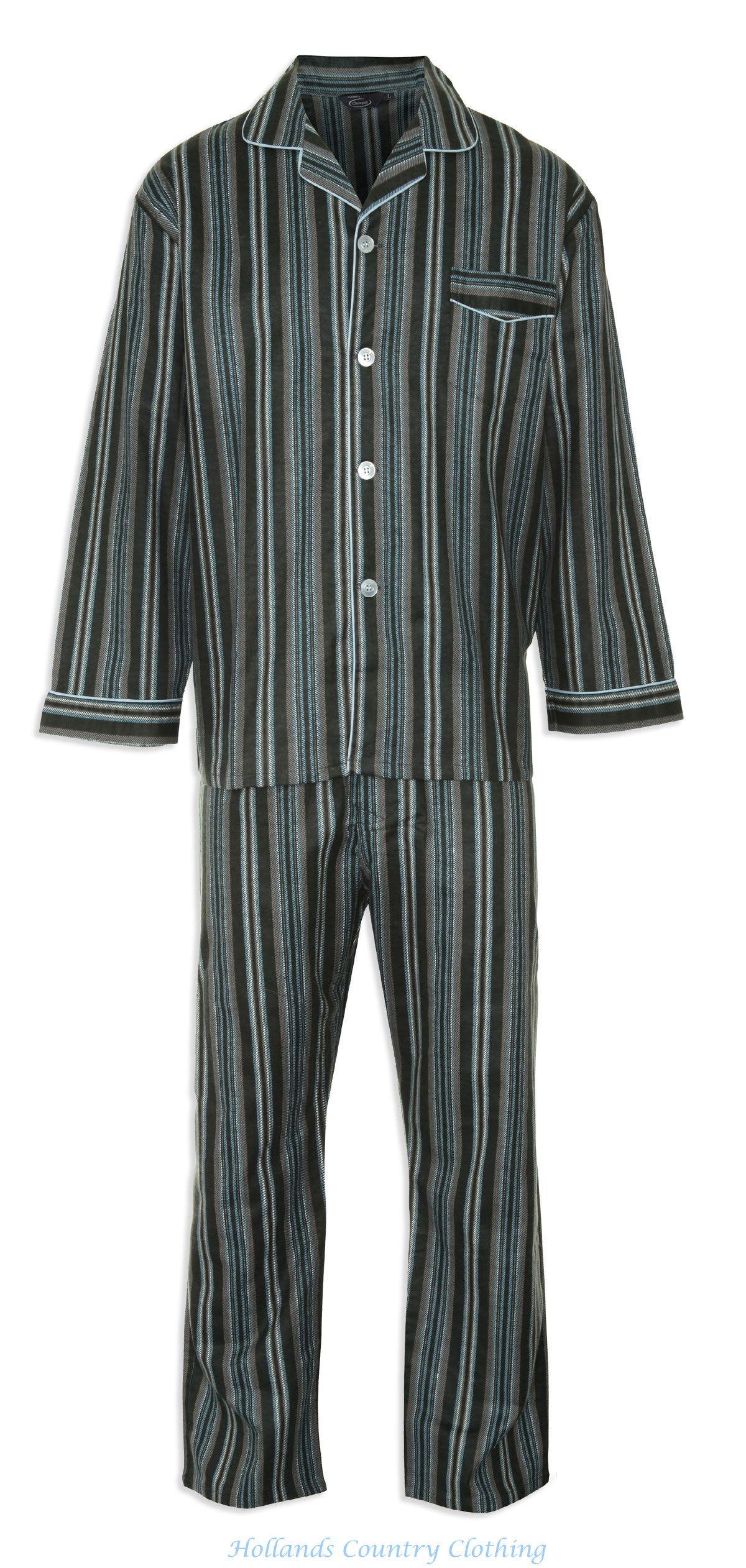 front view Champion Kingston Striped Pyjamas 100% Cotton pair of in blue and burgundy
