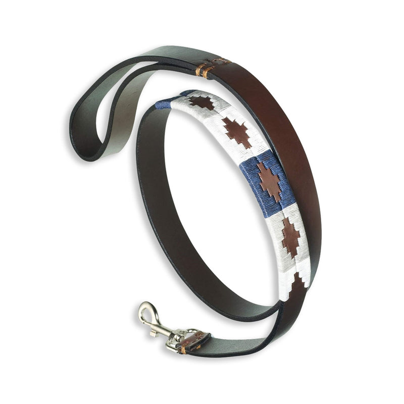 Pampeano Roca Leather Dog Lead Blue Grey White