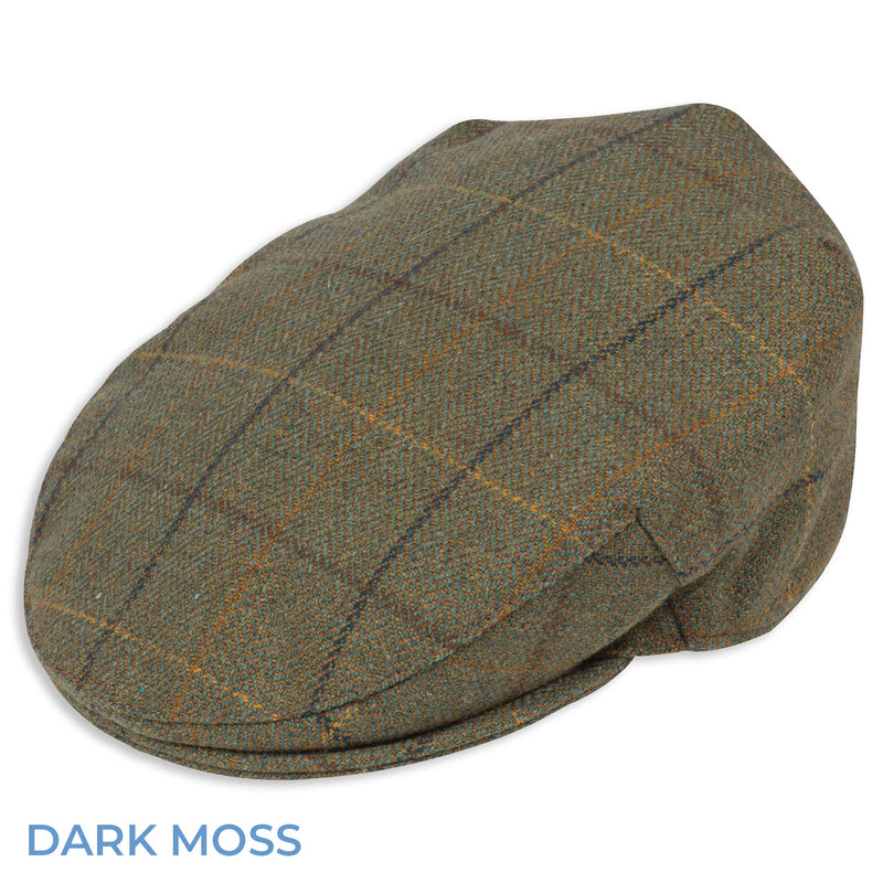 Dark Moss Alan Paine Rutland Waterproof Tweed Flat Cap