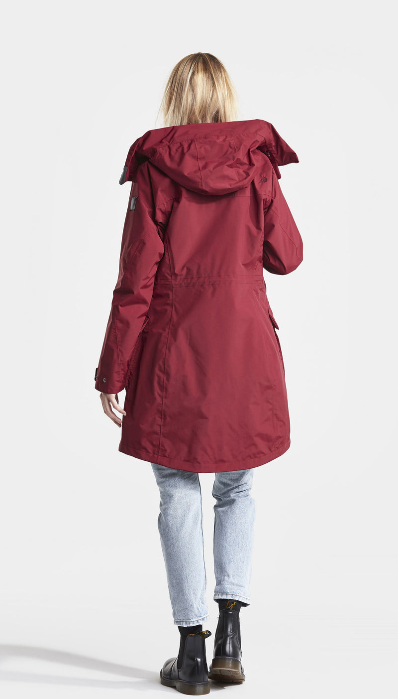 Back View Red Didriksons Ladies Thelma II Waterproof Coat