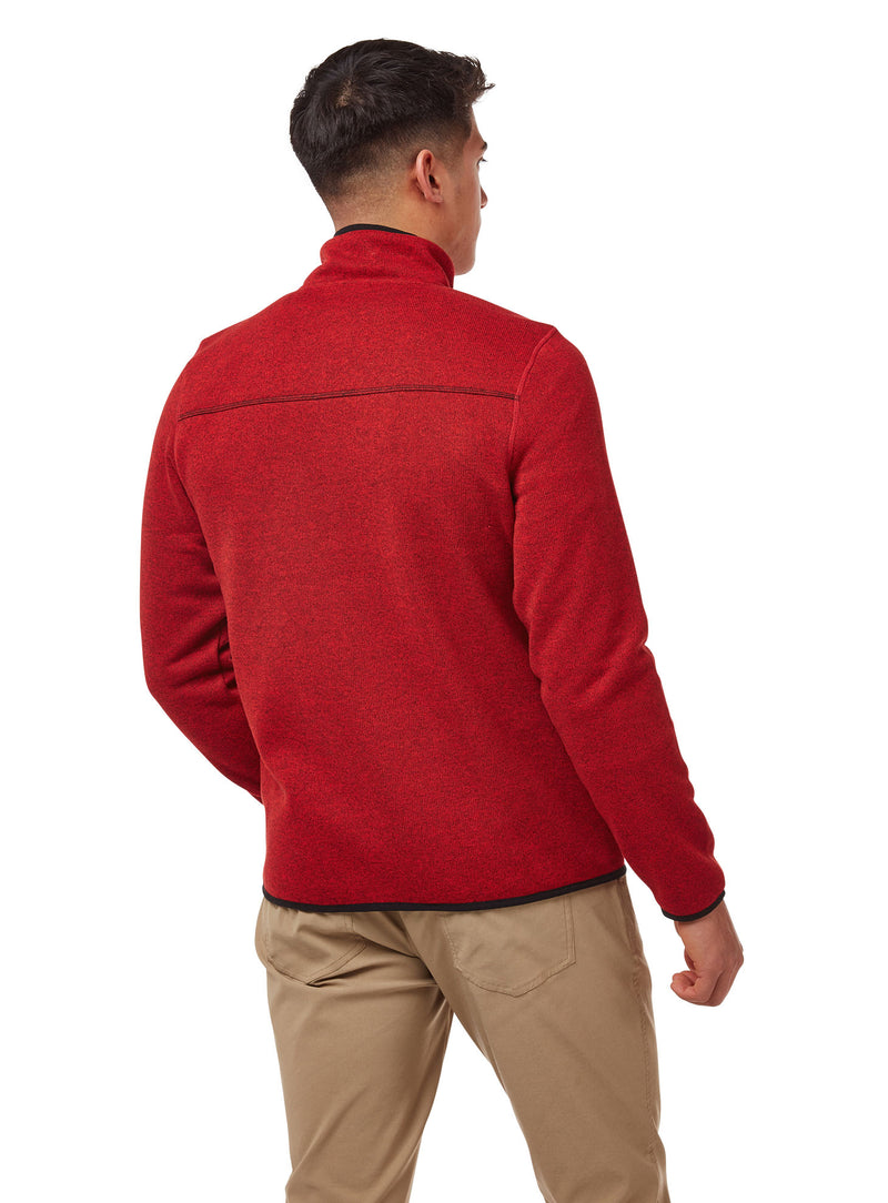 Back view Red Fleece top with zip neck