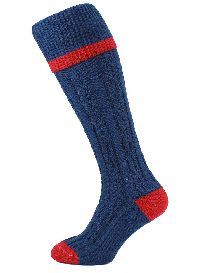 navy and red HJ Hall Cushion Foot Long Sock | Contrast Tip