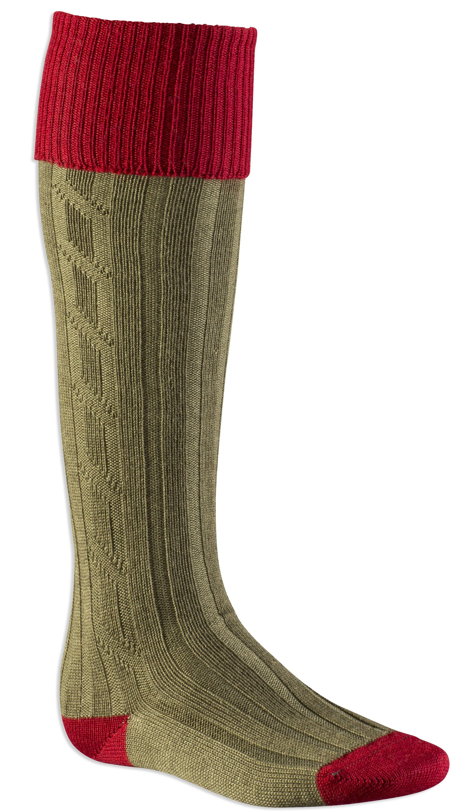 Alan Paine Men's Long Sock in red olive