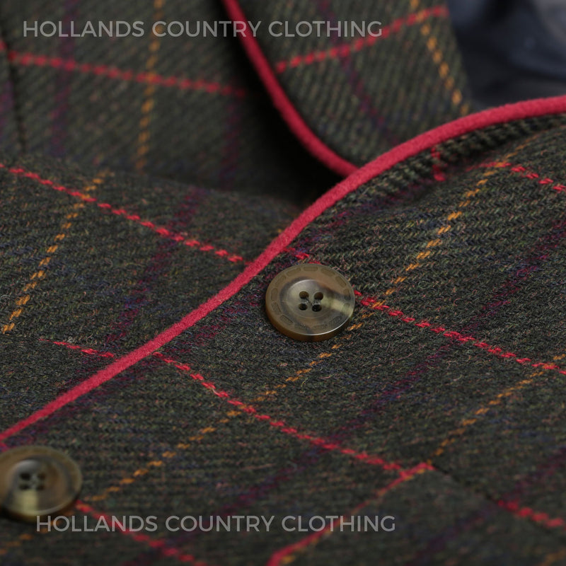 Jacket front showing piping on tweed