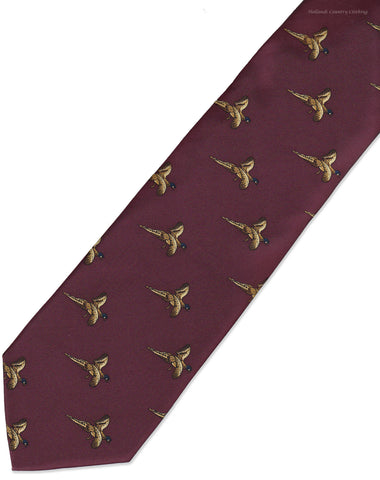 Hoggs Silk  Tie -  Rich Red with Golden Flying  Pheasants