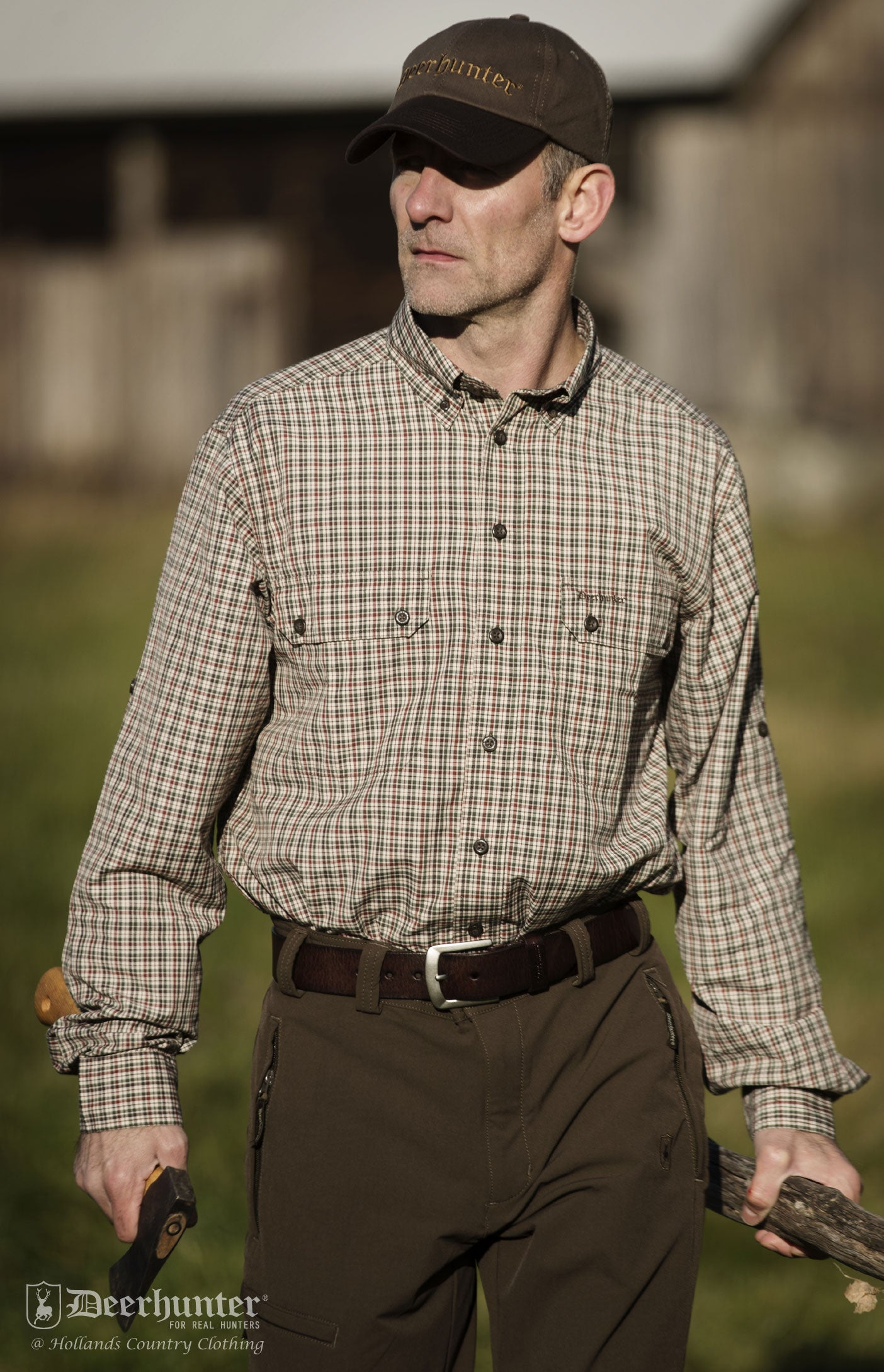 deerhunter check shirt in green small tartan