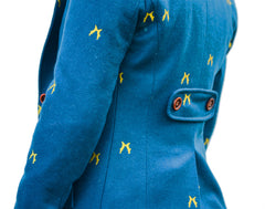 back belt view on Sporting Hares Beauchamp Blazer | Royal Teal