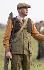 man shooting wear Alan Paine Rutland Tweed Waistcoat | Lichen