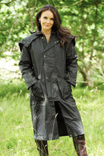 woman in Long Waxed Cotton Coat by Bronte Outdoor