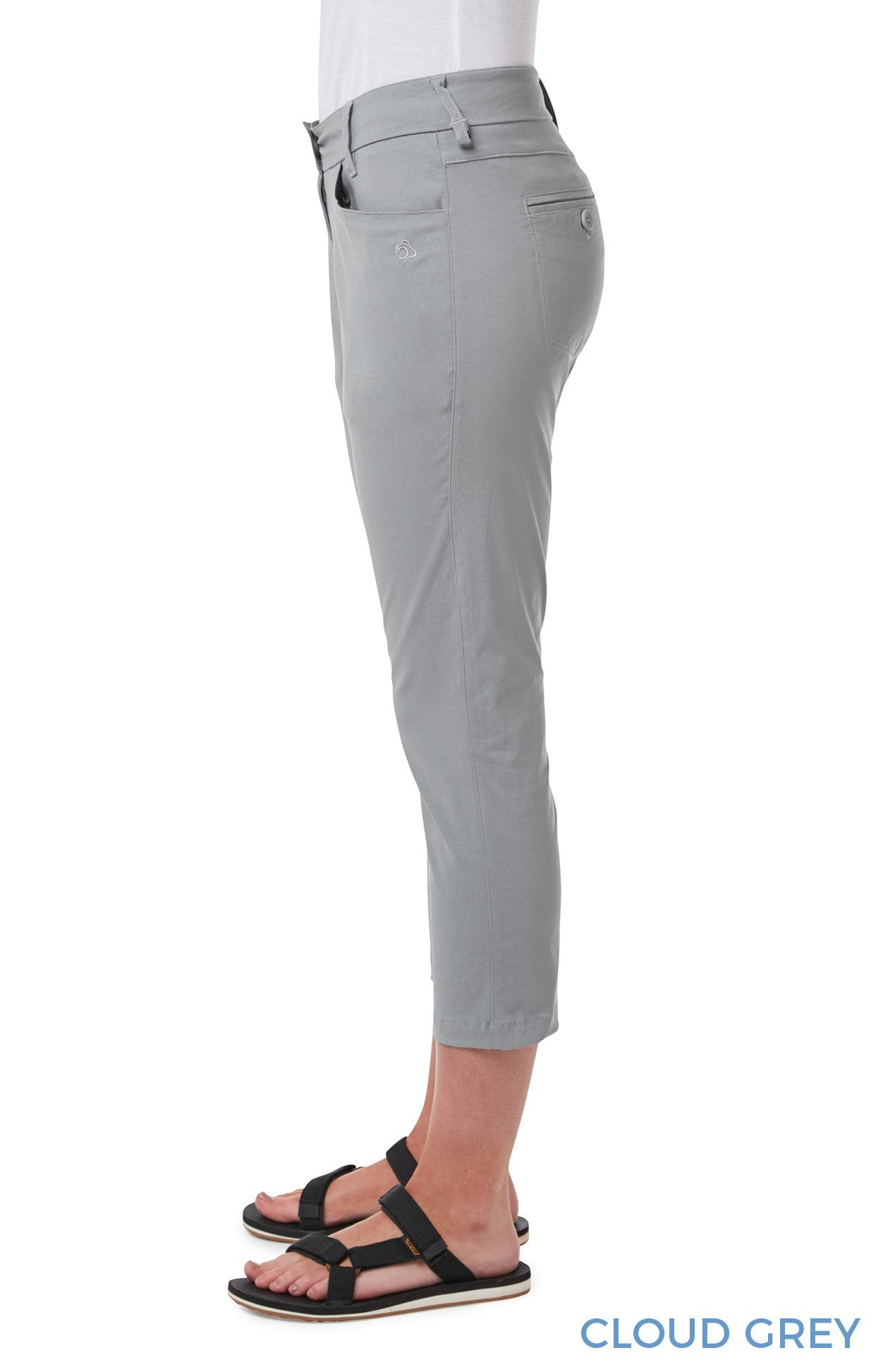 Side View Grey Capri Pants